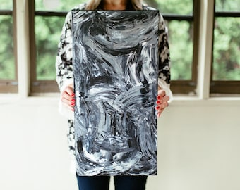 Black, White & Gray Abstract Painting