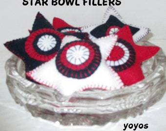 STARS, FILLERS, TUCKS, Red White Blue, Felt Bowl Fillers, Home Decor, Table Décor, Memorial Day, July 4th, Americana, Patriotic, Mothers Day