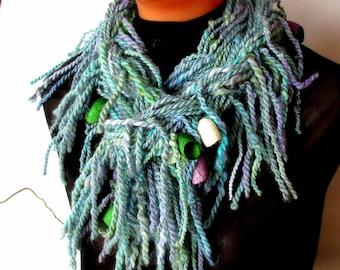 Hand knit handspun art yarn scarf in light blue green Boho wool fringe boa scarf Long wool necklace scarf Wearable art Handmade spring scarf