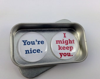 Valentine, Fun Love Gift, Card Alternative, You're Nice, I Might Keep You Magnet Gift Set with Gift Tin, Handmade, Keepsake, Momento