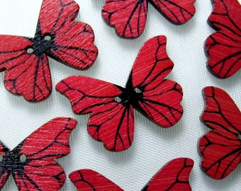 """Scarlet Butterfly: 1-1/8"""" (28mm) Wooden Buttons - Set of 7 New/Unused Matching Buttons"""