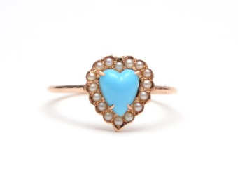 14k Victorian Turquoise Heart Stick Pin Ring