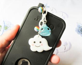 Kawaii Cloud Phone Charm, Dust Plug, Kawaii, Cute, Cloud, iPod Charm, iPhone Charm, Android Charm, Raindrop, Rainbow, Raincloud