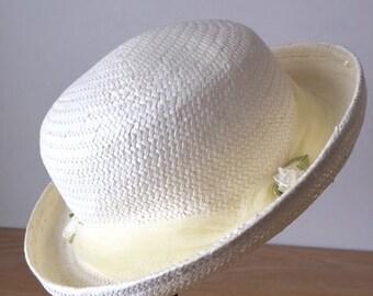 Girls Bowler Hat, Vintage Childs Straw Hat,  Ivory Flower Girl Hat