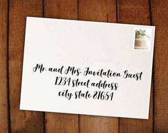 Digital Holiday Card Calligraphy Invitation Envelope Formatting // print at home PDF // Cypress