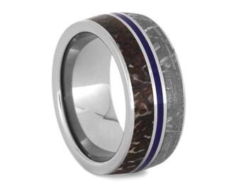 Dinosaur Bone Wedding Band for Men, Meteorite Inlay on Titanium Ring with Blue Enamel, Signature Style