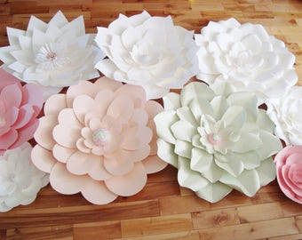Set of 9 flowers - Paper Flowers for Nurseries | Flower Wall for Baby Nursery | Wedding Backdrop | Ceremony Flower Wall | Paper Flower Wall