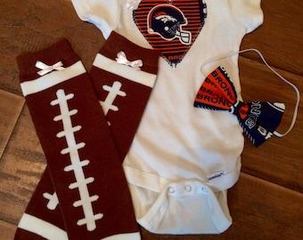 Denver Broncos baby girl bodysuit, broncos baby Onesie, broncos Onesie, broncos baby girl outfit