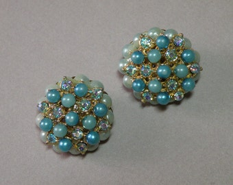 Vintage Aqua Bead Earrings