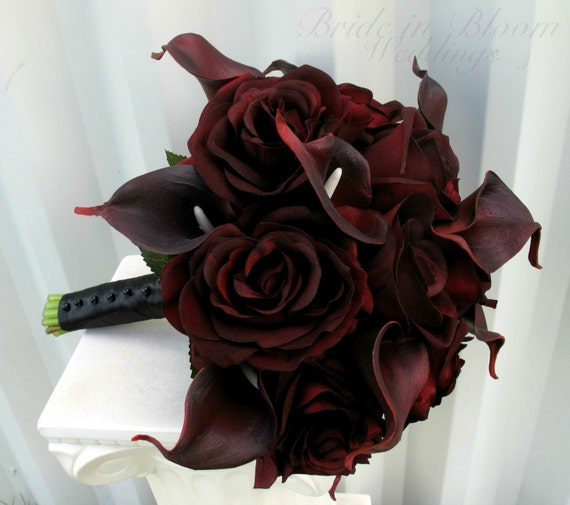 Wedding Bouquet real touch majestic red calla lily black