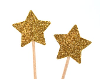 20 Toothpicks star, gold glitter, Double Sided, Party Picks, Cupcake Topper, Baby Shower Decoration, Birthday Pick, duchess kate,