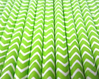25 Limoengroen en witte Chevron Stripe papier drinken rietjes - partij Decor levert tafelgerei