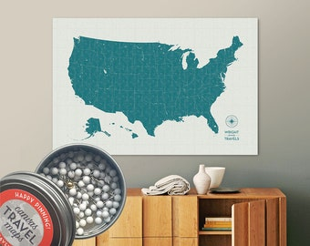 Vintage Push Pin USA Map (Lagoon) Travel Map Push Pin Map Gift Road Trip Map of the USA on Canvas Personalized Gift For Family Name Sign