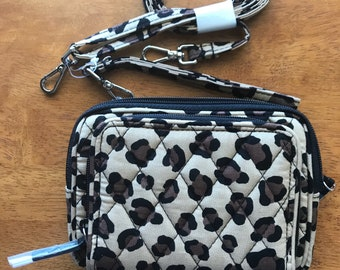 Vera Bradley crossbody/ wristlet with Cell phone compartment. Leopard print. Free Shipping!