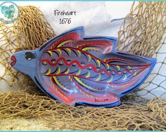 Tropical Fish Trinket Tray, Ring Dish, Handpainted Wood, Unique Beach Decor in *blue, peach, red, yellow, black* 1676