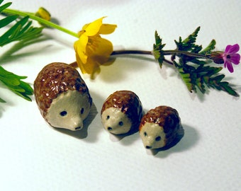 Hedgehog toys, woodland creatures, fairy garden, miniature hedgehogs, mini sculptures, ceramic hedgehogs, set of 3, tiny toys, hedgehog baby