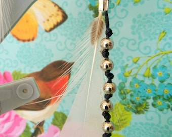 Natural metal beads and pheasant feather earrings