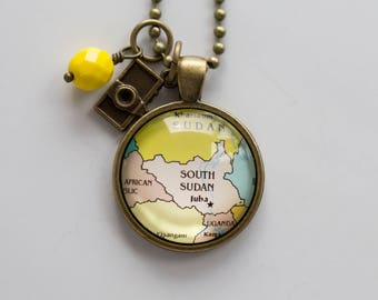 Map of South Sudan Necklace - Map Pendant Necklace - Custom Jewelry - Travel Necklace - Personalized Gift - Missions Adoption Jewelry Juba