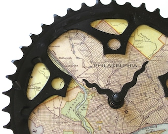Philadelphia Map Bicycle Clock  |  Size M | Map Clock  |  Vintage Map Clock  |  Bike Gear Clock