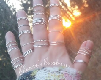 Sterling-Silver-Stackable-Rings-Midi-Layered-Stacking-Customized-Hammered-Spacer-Beaded-Stack Rings-Pinky-Thumb-Knuckle-Band-Simple-Minimal