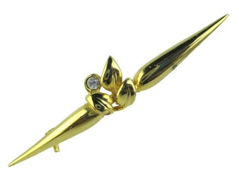 Vintage Leaf Motif Rhinestone Gold Tone Bar Pin