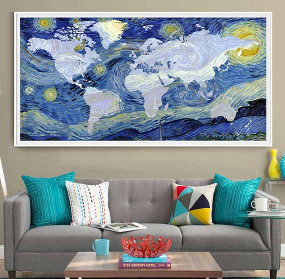 Van gogh world map poster print extra large map wall art van gogh world map poster print extra large map wall art starry night print wall art decor vincent van gogh world map wall art l46 gumiabroncs Images