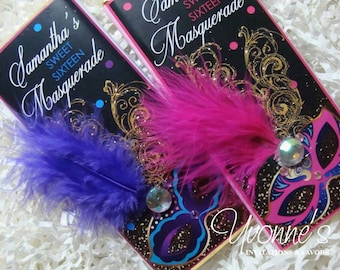 Mardi Gras Masquerade Party Favors-Candy Bar Wrapper-Chocolate Bar Favors-Wedding, Mardi Gras, Sweet Sixteen 16, Quince Anos,Quinceanera