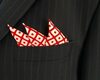 Pocket Square / Hand Stitched / Vintage Japanese Kimono Fabric / Cute
