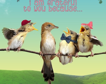 Funny Mother's Day Card with Chirpping Birds