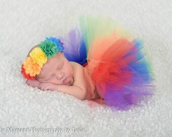 Rainbow tutu - rainbow baby headband - rainbow baby tutu - infant loss - rainbow headband- photo props - rainbow hair band - baby headband