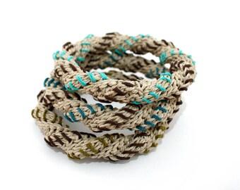 Natural hemp stacking bangles bracelets, boho chic fiber bangles, set of three bracelets, nature lovers jewelry, gift for her, vegan jewelry