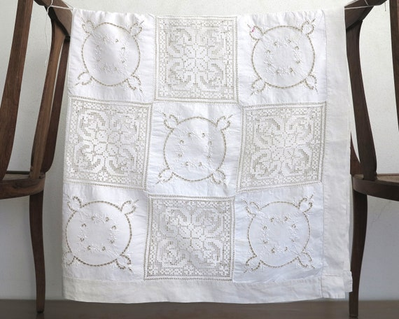 Large vintage bone linen tablecloth with alternating squares of crochet lace and embroidered flowers, hand made, very detailed, 54 ins sq