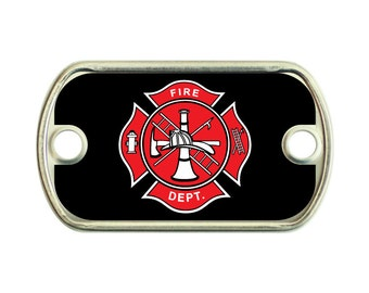 Firefighter Department 2 Holes Stainless Steel Mini Dog Tag For Paracord Bracelets