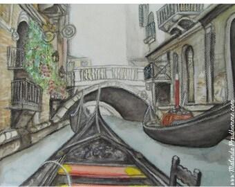 Gondola Venice Canal Italy - ART PRINT - 8 x 10 - By Mixed Media Artist Malinda Prudhomme