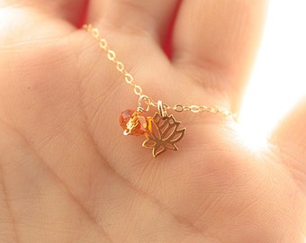 Tiny Lotus Necklace, Lotus Flower Charm, Tiny Birthstone Necklace, Gold Filled Necklace, Dainty Necklace, Yoga Jewelry, Charm Necklace