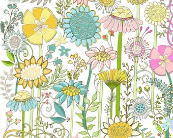 Boho Flower Clipart PNG, Wild Flowers Clip Art, Spring Floral Graphic Images, Hand Drawn Bohemian WildFlower Digital Download PNG Images
