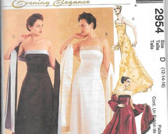 McCall's 2954 Evening Elegance Dress Gown And Stole Sewing Pattern UNCUT Size 12, 14, 16