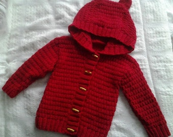 Cardigan, Hoodie with Teddy Ears, hand knitted , made to order Suitable for boy or girl - Newborn to age 3 (16 to 24 inch chest)