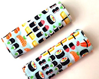 Sushi luggage handle cover, 2 luggage handle wraps, bag handle cover, luggage tag, suitcase tag, sushi bag tag, handle wrap, gifts her him
