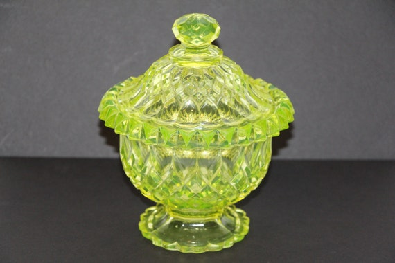 1800s Bakewell Block Canary Uranium Covered Candy Sugar Dish Bowl