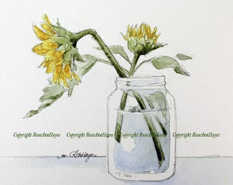 Sunflowers in Jar Print of Watercolor Painting Flowers Floral Wildflower Bouquet Garden Botanical