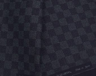 Japanese checkerboard fabric - Sevenberry - pattern traditional checkerboard black and grey - by 50 cm (110 x)