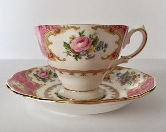 Vintage Royal Albert Tea Cup & Saucer Lady Carlyle Teacup Duo