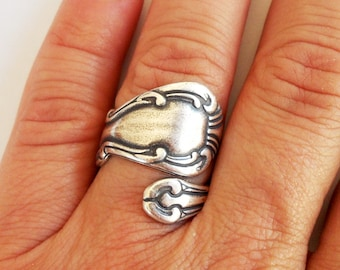 Steampunk Spoon Ring Bypass Ring Sterling Silver Ox Finish Style 2