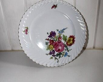 Vintage large Porcelain Cake Serving Plate, Floral Design, Porcelain Platter, Porcelain Tray