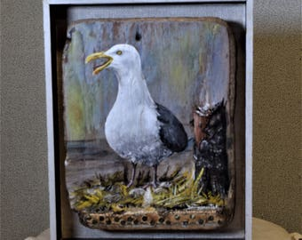 Seagull Painting on Driftwood Original Painting Acrylic