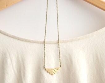 Gold Geometric Necklace |  Aztec Necklace | Tribal Necklace | Rustic Wedding | Long Gold Necklace | Geometric Necklace | Brass Necklace