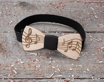 Wood bow tie Music wooden bow tie, musical bowtie treble notes artist show Boyfriend gift, Gifts for Him, Personalized. Black pocket square