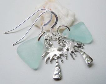 Dangle Earrings  Sea Glass Palm Tree Beach Glass Earrings, Tropical Sea Glass Earrings, Seaglass Jewelry
