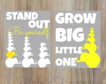 Nursery art- elephant nursery ,yellow gray, grow big, be yourself, playroom art, stand out, children wall art, elephant art